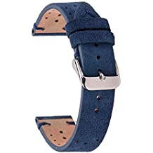 Rally Racing Band,Perforated Design Watch Replacement Strap,Eache 22mm Suede Cowhide Speedster Watchbands