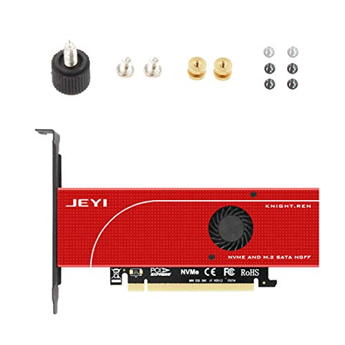 (JEYI Knight Power-Fail Protection PCIE3.0 NVME Adapter x16 Full Speed M.2 dd On Card Heat Sink Wafer Fan Cooling SSD)