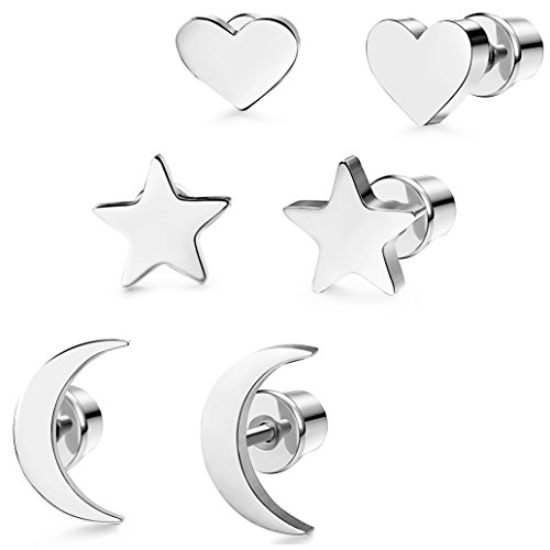 - LOYALLOOK 3 Pairs Stainless Steel Moon Star and heart Plain Stud Earrings for Women and Girls Silver Tone
