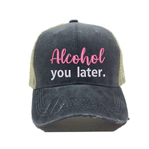 Adult Custom Funny Trucker Hats Alcohol You Later Men Women Drinking Distressed Ball Cap (Black/Tan Hat - Pink/White Text)