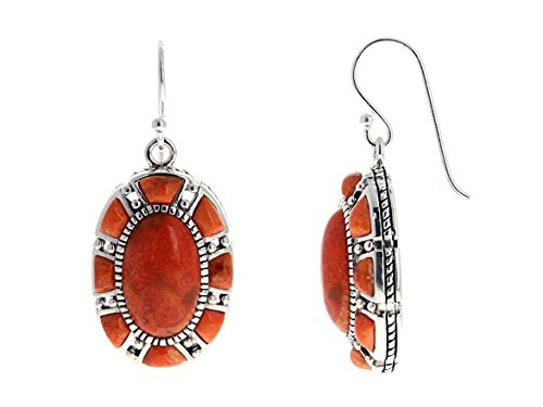 (Large Genuine Oval Coral Antiqued Silver Earrings Natural Sponge Coral)