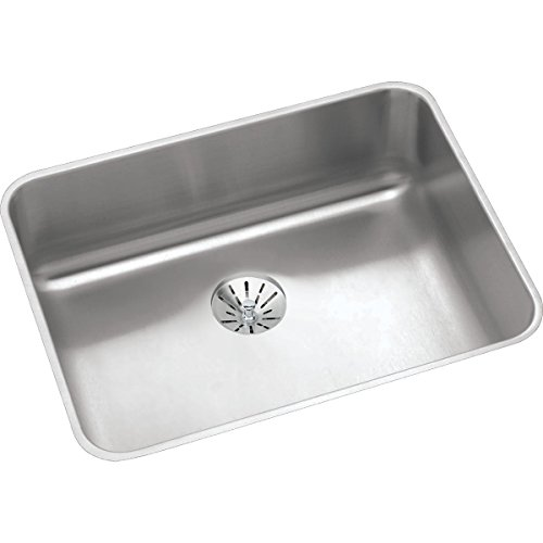 Right Rear Drain - Elkay Lustertone ELUHAD211555PD Single Bowl Undermount Stainless Steel ADA Kitchen Sink with Perfect Drain