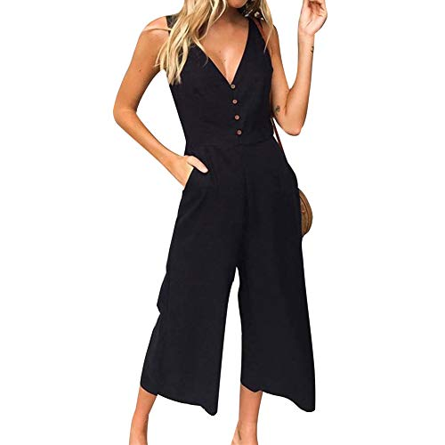 ECHOINE Women's Jumpsuit Rompers Button Deep V Neck Sleeveless High Waist Wide Leg One Pieces Outfits with Pockets Black S (V-neck Womens Leg)