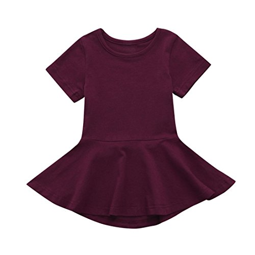 Willsa Girl Dress, Baby Girl Cotton Candy Color Short Sleeve Princess Tutu Casual Dress (18M, Red)