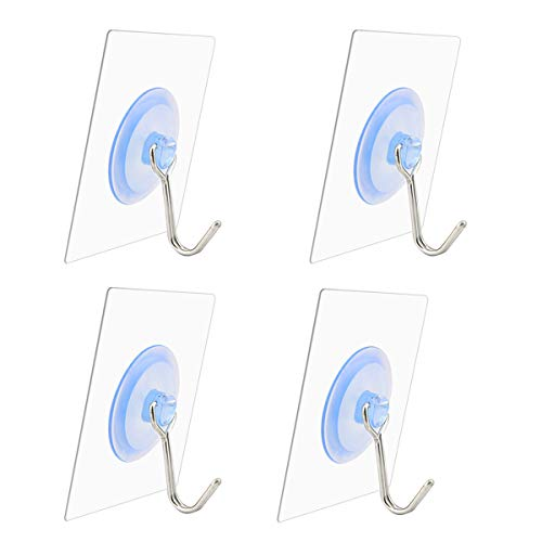 Nicedec 22 Pounds (Max) Nail Free Wall Hooks for Home and Kitchen, 4-Pack Transparent Super Heavy Duty Hook Ceiling Hook, Waterproof and Oilproof (Square) [Not Recommended for Painted Wall]