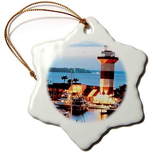 Ditooms Harbor Town Lighthouse at Hilton Head Island at Dusk Snowflake Decorative Hanging Ornament, Porcelain, 3-Inch