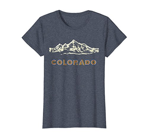 Womens Colorful Colorado Mountain Hiking Scene Shirt XL Heather Blue ()