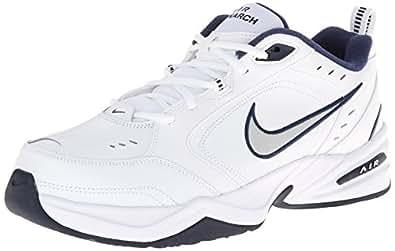 Men's Nike Air Monarch IV (4E) Training Shoe White/midnight navy/metallic silver Size 6.5 Wide 4E
