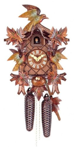 mygermanstore Original Eight Day Movement Cuckoo Clock with Hand Painted Flowers 14.5 Inch