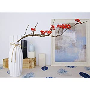 Skyseen 3PCS Artificial Cherry Blossom Branches Sakura Flowers Arrangements for Home Wedding Decoration,Red 97