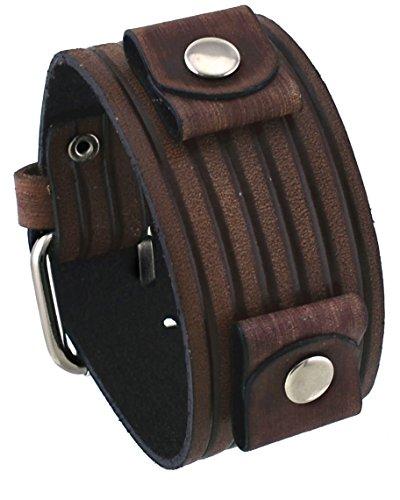 Nemesis #VEB-B Groove Pattern Wide Brown Leather Cuff Wrist Watch Band