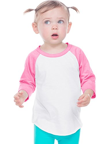 (Kavio! Infant Jersey Contrast Raglan 3/4 Sleeve White/Pink Flash 12M)
