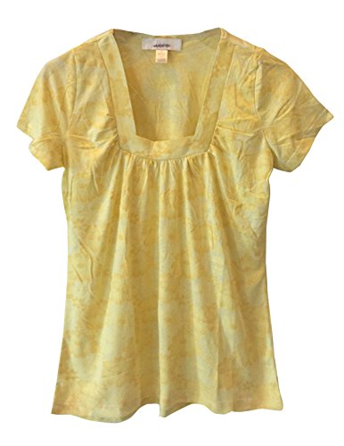 ann-taylor-loft-womens-yellow-floral-short-sleeve-blouse-medium