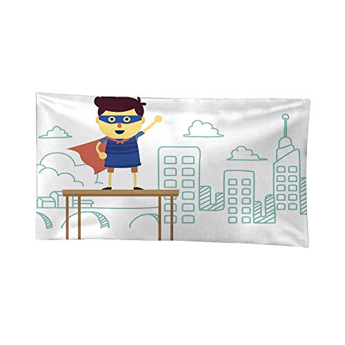 Nicely Wall Tapestries A Cartoon Superhero boy Standing on a Table with a City Tapestries Hippie 80W x 60L Inch