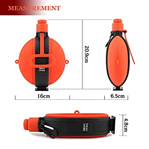 Collapsible Military Water Bottle, Anyasun Portable Silicone Water Kettle 19.8 Ounce BPA Free Canteen with Compass Bottle Cap for Outdoor Hiking Camping Cycling Travel