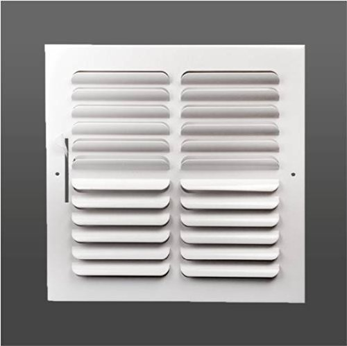 Curved blade multi-louver two-way ceiling or wall steel air register (10'' x 10'') (duct opening size)