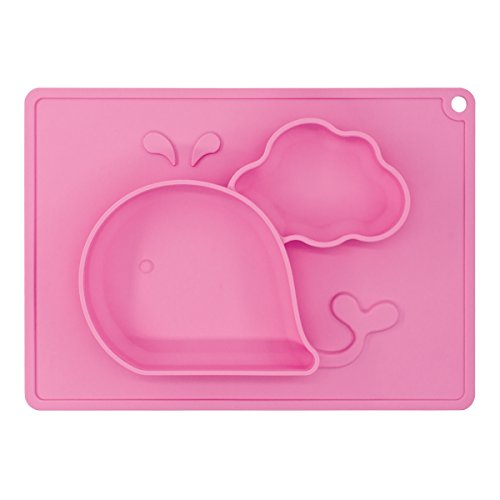 Older Fruit Dessert Bowl - Baby Feeding Mat, BliGli Toddlers Silicone Placemat, Non-Slip Baby Plates for Kids, Dishwasher/Microwave Oven Safe, Fits Most High Chair Trays, Perfect for Dinners Out and Travel. (Pink-Small Whale)