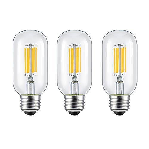 - Rayhoo 6W Dimmable E26 E27 LED Light Bulbs, Edison Style, T14(T45) LED Filament Tubular Light Bulb, 60W Incandescent Replacement, 2700K Warm White 600LM, 3-Pack