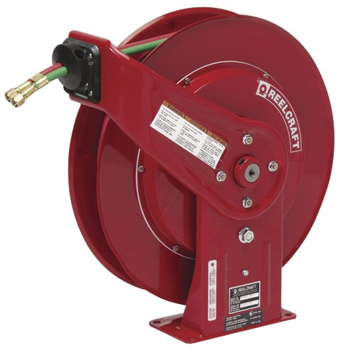 Reelcraft Spring Driven Dual Oxygen Acetylene Welding Hose Reel   Hose Inside Diameter  1 4    Hose Length 60
