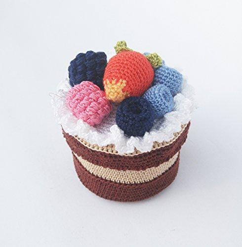 Crochet treasure cake, No bake cupcake, Berries crochet cupcake, kitchen decoration, Gift for girls and moms