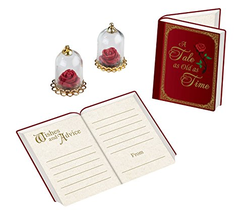 A Tale As Old As Time Beauty and Beast Fairytale Wedding Signing Cards and Rose Dome Favors ()