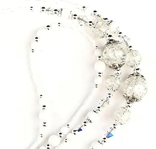 Swarovski Beaded Necklace - Beaded Lanyard~White Crackle~Swarovski Crystal~Badge ID Holder