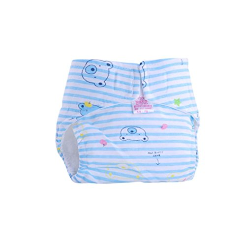 Sunward Reusable Washable Adjustable Baby Toddler Soft Dry Cloth Diaper Nappy (M, Blue) - Linen Diaper