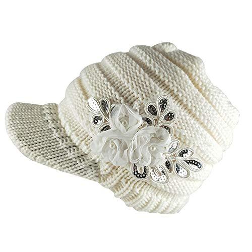 Moktasp Fashion Winter Women Woolen Yarn Plain Weave Knitting Sequins Flower Visor Hat,White ()