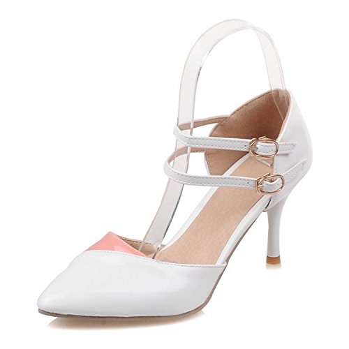 Women Ankle Pointed Toe Sandals High Heels Shoes (White) - 7