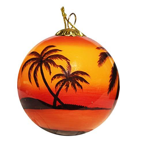 Art Studio Company Hand Painted Glass Christmas Ornament - Sunset Palms Hilton Head