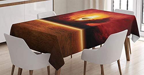 - LONSANT Mystic House Decor Chic Tablecloth, Dramatic Apocalyptic Sun Eclipse View with Dark Red Sky Sea Horizon,Rectangular Table Cover, 60 X 90 Inches, Orange and Yellow