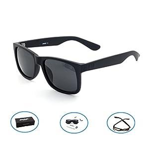 Tacloft Polarized Tr90 Sunglasses 54mm Classic Wayfarer Eyewear Shade tl6001 (Black frame/Black Lens)