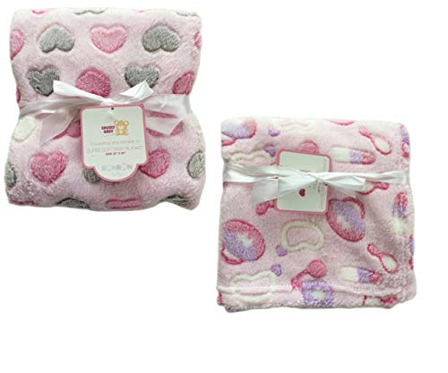 2-Pack Super Soft Plush Lightweight Furry Fleece Sherpa Quilt Grey Pink Purple Hearts Girlie Girl Baby Blanket Twins Gift Set ()