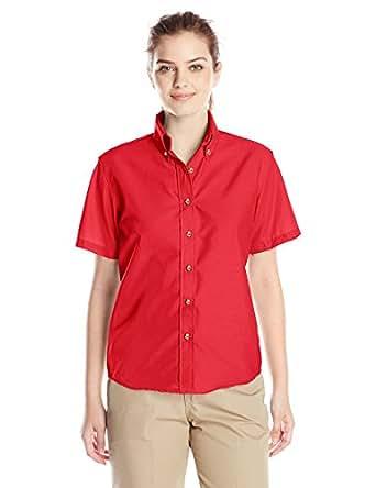 Red Kap Women's Short Sleeve Poplin Dress Shirt, Red, 10