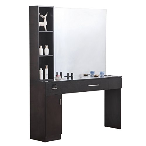 BarberPub Makeup Mirrors Station Wall Mount Hair Styling Barber Station Beauty Salon Spa Equipment Set w/Mirror 3046, Black - Drawer Wall Mount Station
