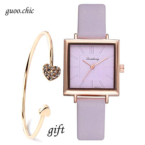 Ladies Watches Purple Leather Band Square Dial Case Fashion Women Watches-Valentine's Day Gifts