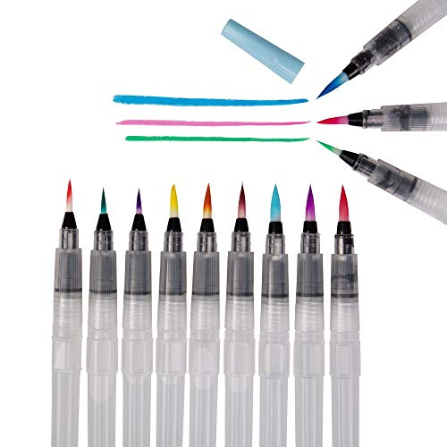 Refillable Set - Refillable Water Color Brush Pen Set of 12 (3 Different Thicknesses & 4 of Each Size) Multi Purpose Artist Grade Watercolor Brushes for Water Color Painting & Lettering