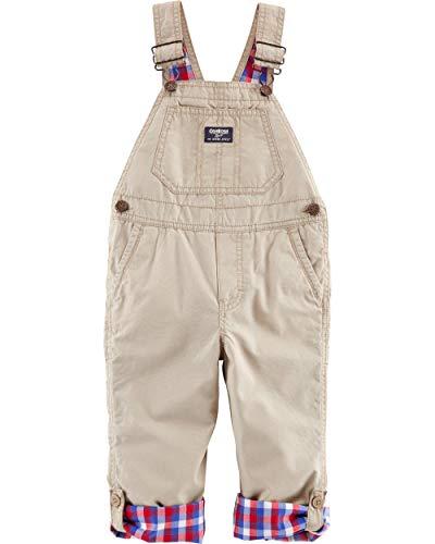 Osh Kosh Baby Boys' Toddler World's Best Overalls, Khaki Plaid Lined, ()