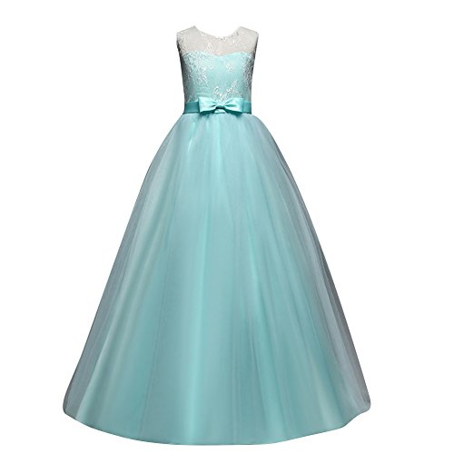 Children dress Little Big Girls'Tulle Dresses 6-14T Ruched Lace Pageant Party Fall Wedding Bridesmaid Floor Length Evening Dance Gowns Light Green ()