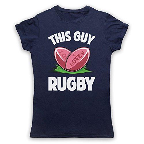 This Guy Loves Rugby Rugby Slogan Camiseta para Mujer Azul Marino