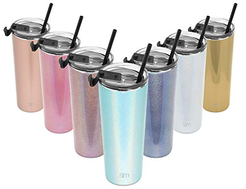 (Simple Modern 24oz Classic Tumbler Travel Mug with Clear Flip Lid & Straw - Coffee Vacuum Insulated Gift for Men and Women Beer Pint Cup - 18/8 Stainless Steel Water Bottle Shimmer: None)