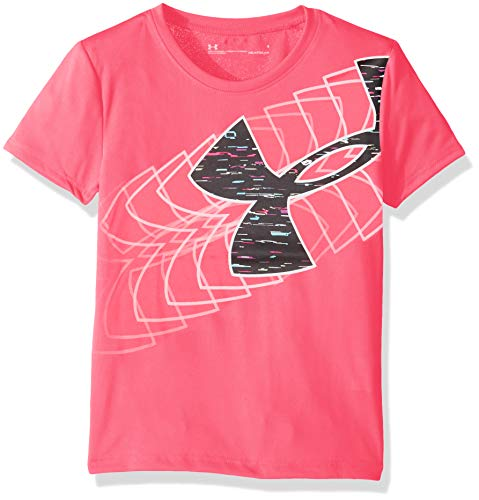 Under Armour Girls' Little Wordmark Logo Short Sleeve Tee, Mojo Pink-S19, 6X ()