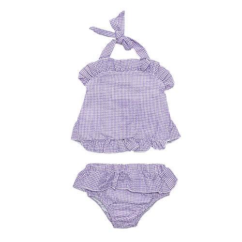 (MONOBLANKS Cute Baby Girls Swimwear Bow Seersucker Bikini 2 Piece Swimsuit (12/18m, Purple(Two Piece)))