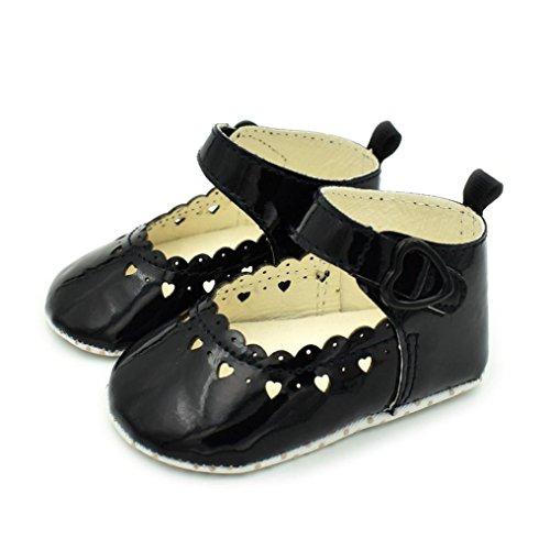 Tefamore Zapatos para bebés Fringe Soft Soled Slip Calzado Zapatos Hollow Love Shoes Negro