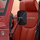 Esright Rectangular Adventure Door Hinge Mirrors Side View Shake-Proof Door Off Mirror for All Jeep Wrangler JK,JL(07-18), 1 Pair (Textured Black)