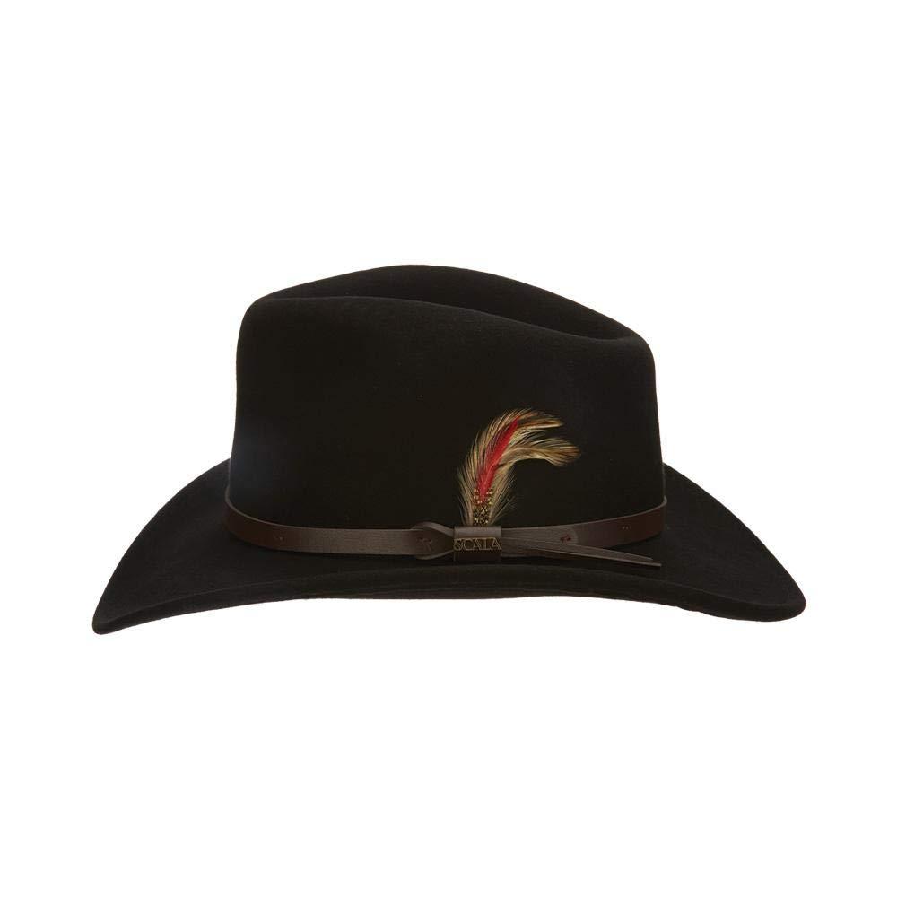 X-Large Black Dorfman Pacific Scala Classico Mens Crushable Felt Outback Hat