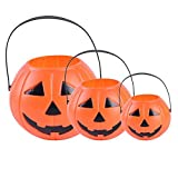 LED Halloween Pumpkin Candy Basket Bucket Child Trick Or Treat S/M/L Candy Bag Home Halloween Party Tree Light Decor Supplies (Random)