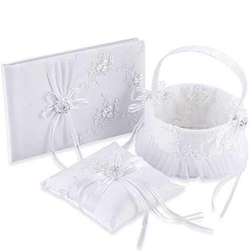 LONGBLE Satin Wedding Flower Girl Basket + Ring Bearer Pillow + Guset Book Elegant Rose Flowers Decor Set White Wedding Ceremony Favors 3Pcs/Set (Embroidery basket) by LONGBLE