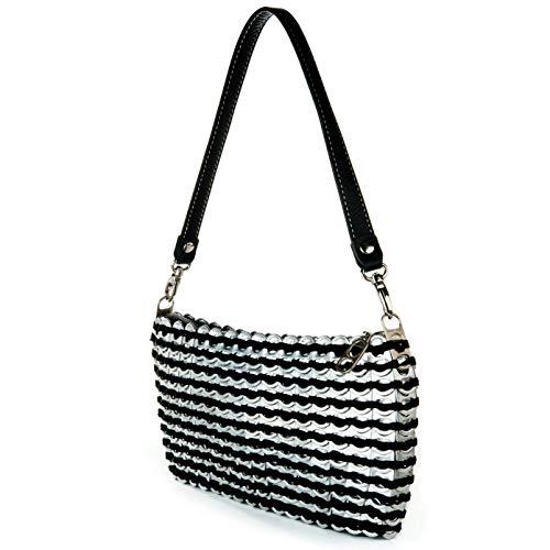ESCAMA STUDIO Jamie Women's Zip Top Evening Bag Upcycled Pop Top Purse With Detachable Leather Strap (black)