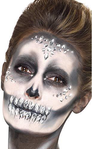 Ladies 100 Clear Crystal Stick On Face Gems Festival Sugar Skull Skeleton Make Up Halloween Fancy Dress -